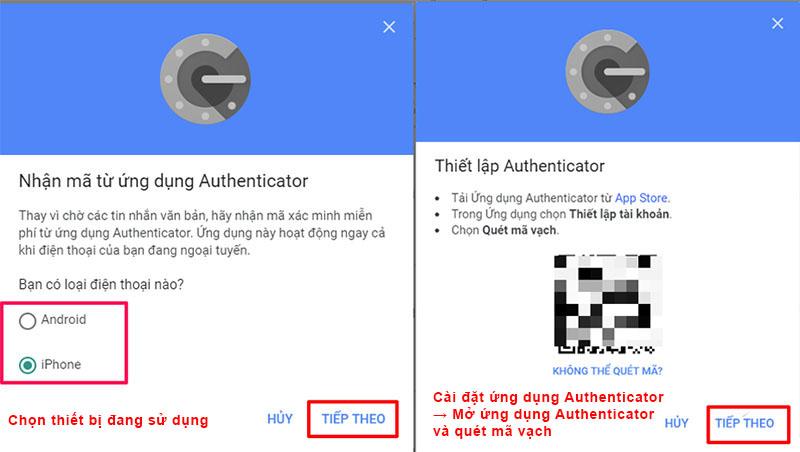 minh 2 bước tài khoản Gmail