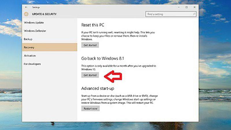 hạ cấp Windows