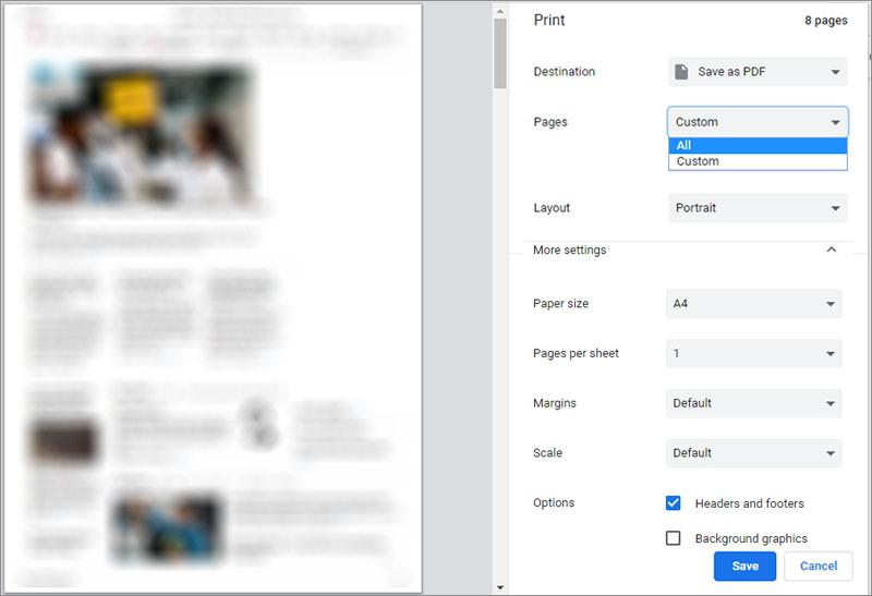 Lưu trang web thành file PDF