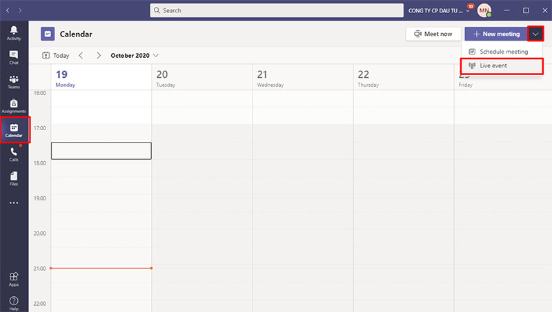 Live Events trên Microsoft Teams